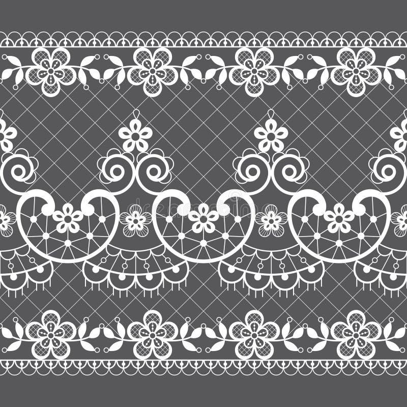 Modelo inconsútil del vector del cordón - estilo retro del weddin, diseño repetidor ornamental con las flores y remolinos en blan libre illustration