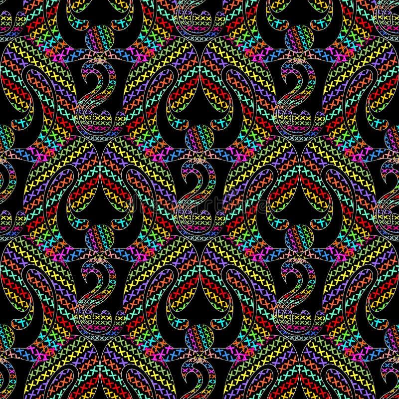 Modelo inconsútil del vector cruzado colorido abstracto del bordado ilustración del vector