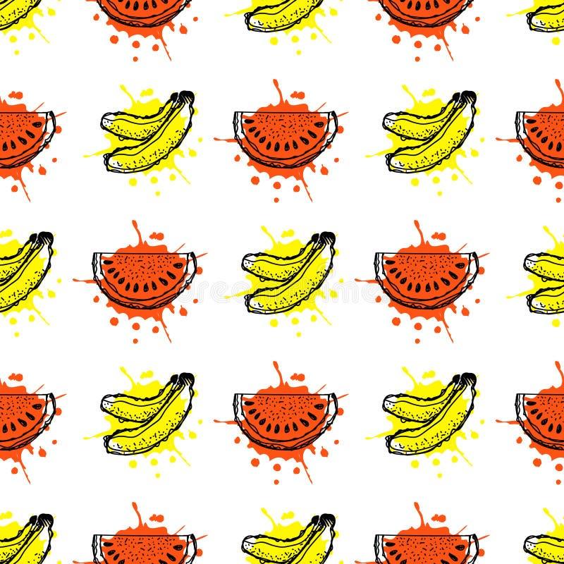 Modelo inconsútil del vector Dé el ejemplo exhausto de las frutas del plátano y de la sandía con el chapoteo y caiga, en el fondo ilustración del vector