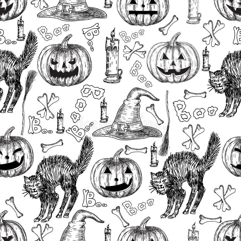 Modelo inconsútil del vector del día de fiesta de Halloween del segador de la muerte de Halloween, fantasma fantasmagórico, gato  libre illustration