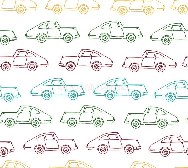 Modelo inconsútil del vector de coches retros texturizados stock de ilustración