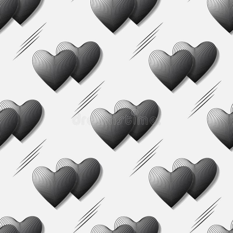 Modelo inconsútil del vector de corazones volumétricos negros en el efecto 3d para el diseño libre illustration