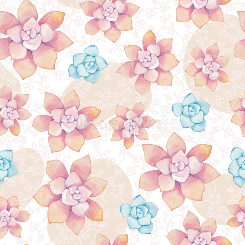 Modelo inconsútil del vector de elementos florales en un estilo de la acuarela Succulents pintados en acuarela stock de ilustración