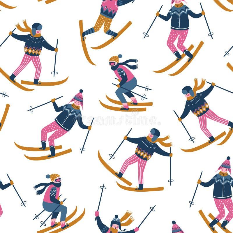 Modelo inconsútil del vector de esquiadores Se divierte a niños en la estación de esquí Diseño escandinavo de moda stock de ilustración