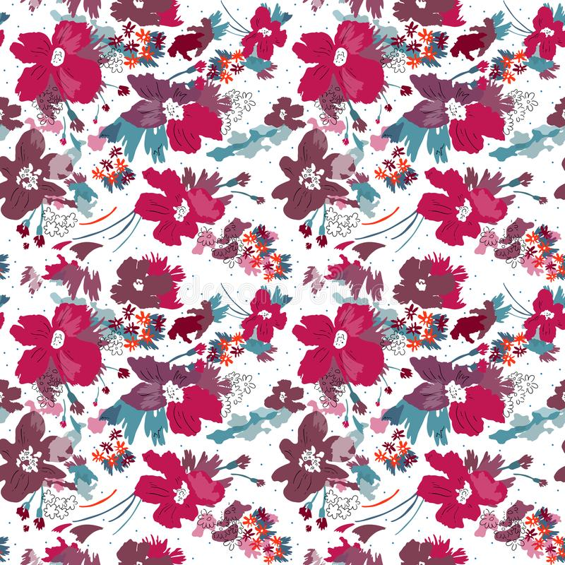 Modelo inconsútil del vector de flores elegantes en el fondo blanco stock de ilustración