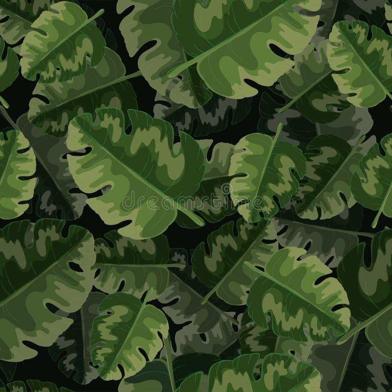Modelo inconsútil del vector de hojas de palma verdes y de plantas tropicales stock de ilustración