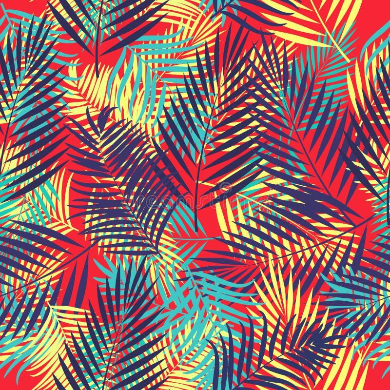 Modelo inconsútil del vector de hojas tropicales de la palmera libre illustration