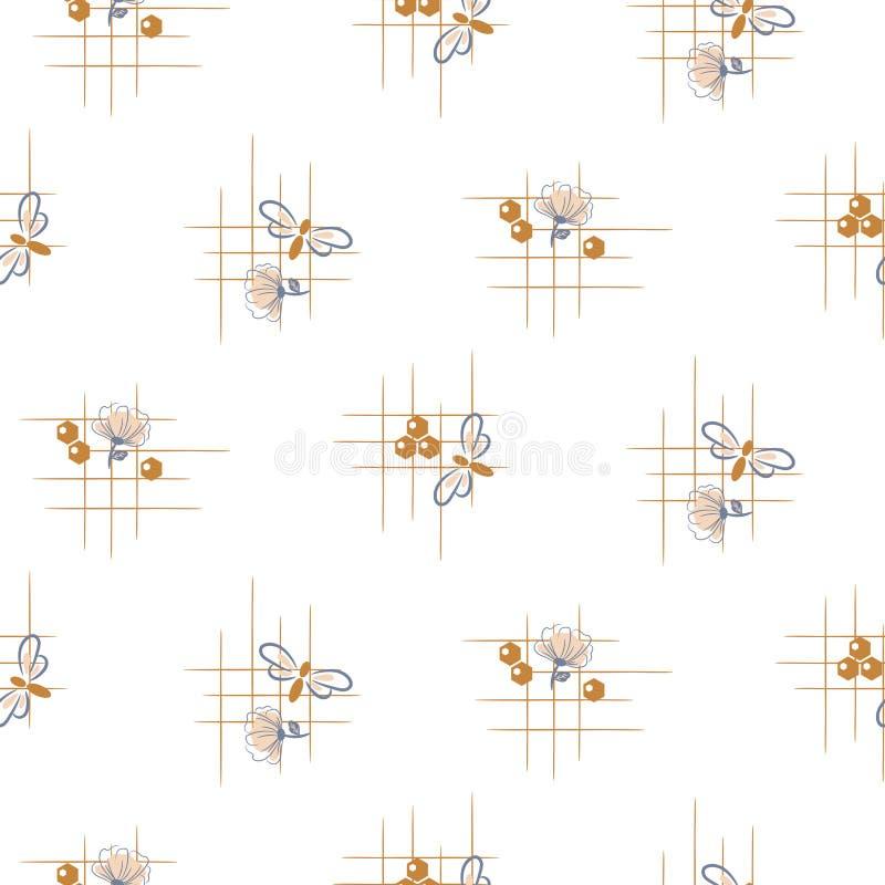 Modelo inconsútil del vector de la abeja y de las flores Ejemplo simple lindo exhausto de la repetición de la mano ilustración del vector