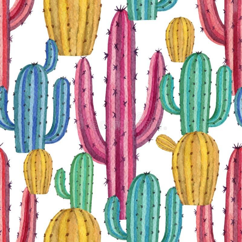 Modelo inconsútil del vector de la acuarela de los cactus y de las plantas suculentas aislados en el fondo blanco libre illustration