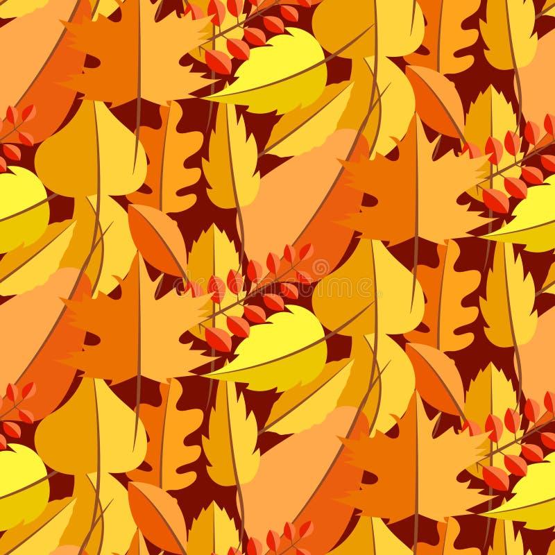 Modelo inconsútil del vector de la caída de las hojas de otoño stock de ilustración