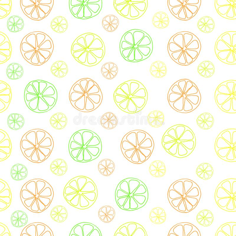 Modelo inconsútil del vector de la cal del limón de la fruta cítrica en blanco ilustración del vector