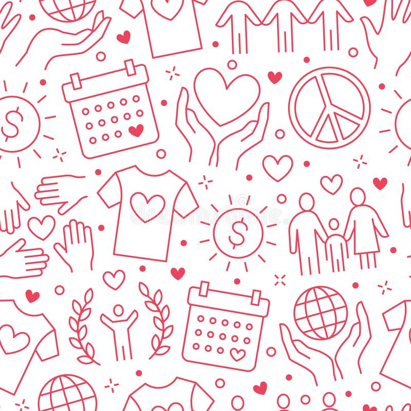 Modelo inconsútil del vector de la caridad con la línea plana iconos Donación, organización sin ánimo de lucro, ONG, dando ejempl libre illustration