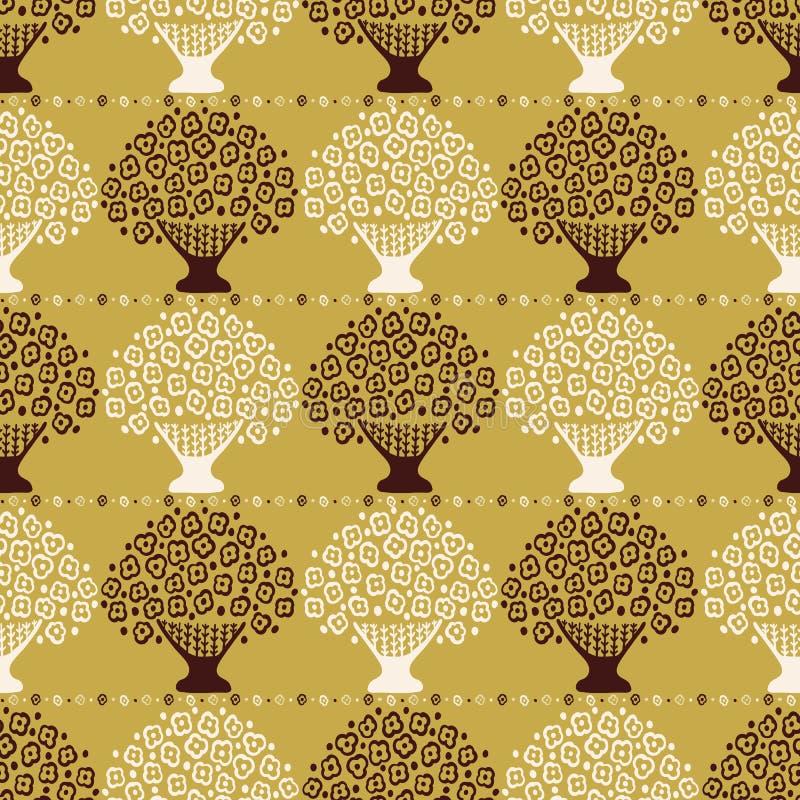 Modelo inconsútil del vector de la cesta estilizada de la flor Árbol de florecimiento popular de las margaritas de Scandi libre illustration