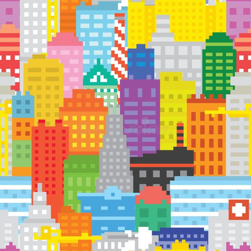 Modelo inconsútil del vector de la ciudad del arte del pixel ilustración del vector
