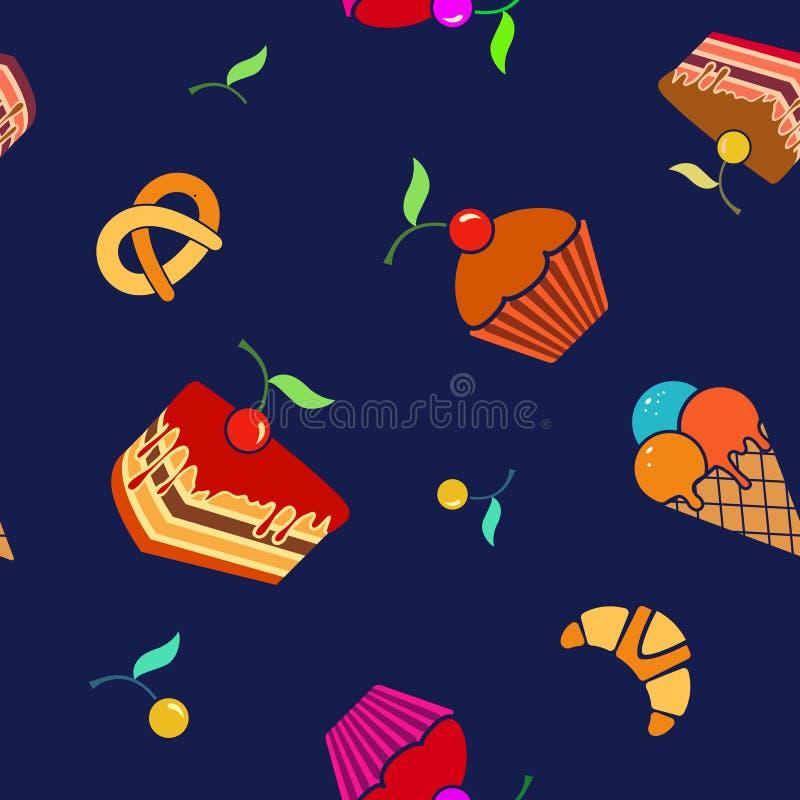 Download Modelo Inconsútil Del Vector De La Comida Y De La Bebida Ilustración del Vector - Ilustración de cupcake, cumpleaños: 64200631
