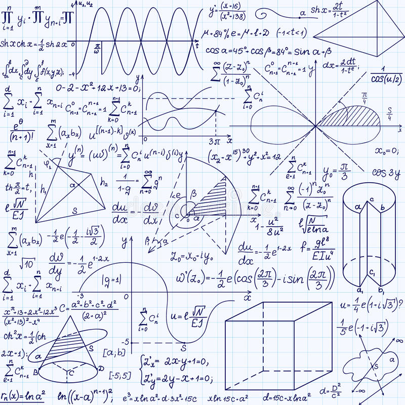 Modelo inconsútil del vector de la educación de la matemáticas con fórmulas manuscritas, tareas, diagramas, cálculos y figuras ge libre illustration