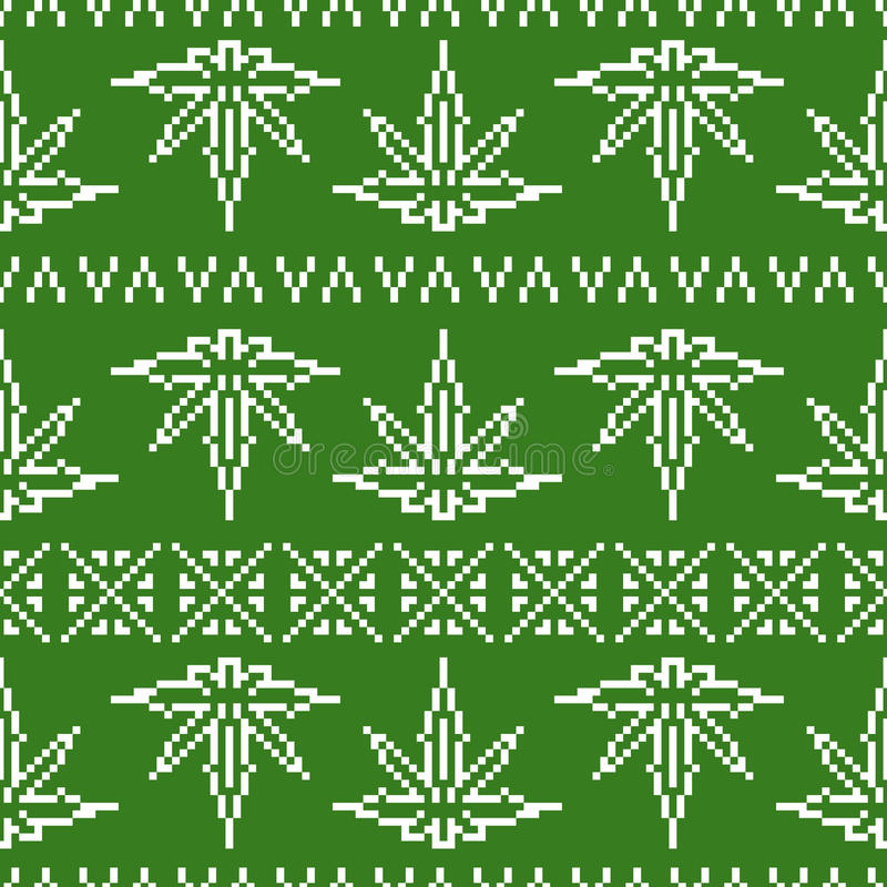 Modelo inconsútil del vector de la hoja de la mala hierba del suéter del estilo del juego del arte del pixel stock de ilustración