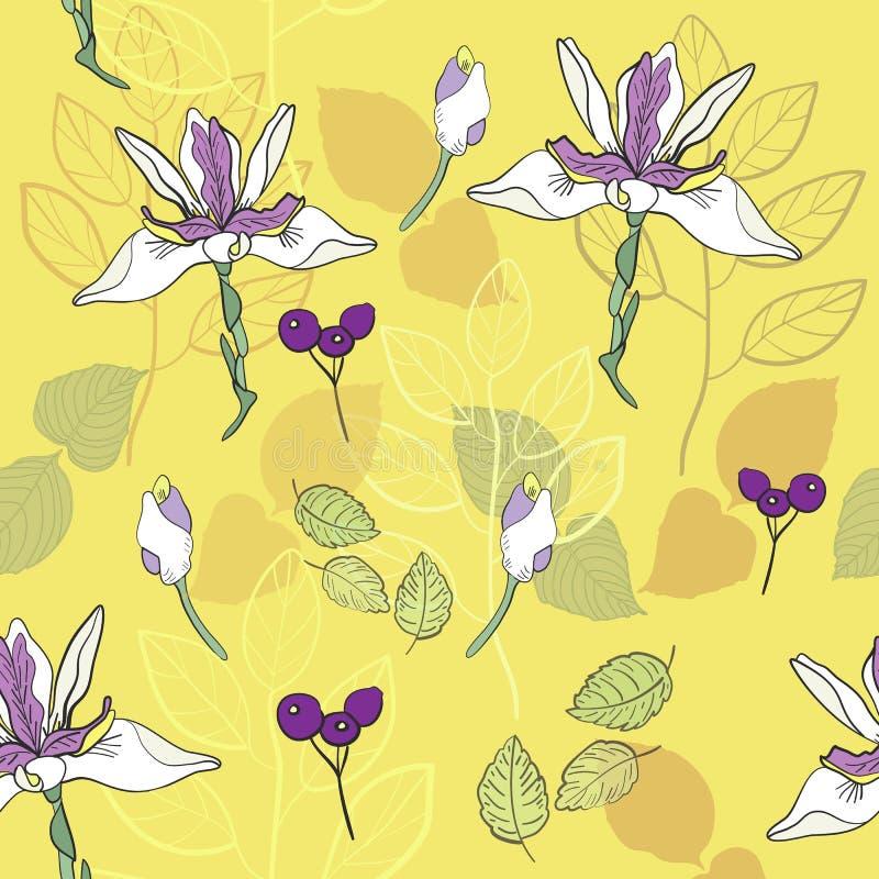 modelo inconsútil del vector del modelo de la impresión botánica en amarillo limón y lavanda ilustración del vector