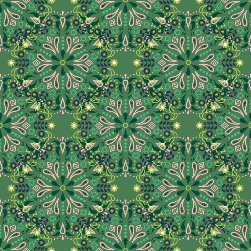 Modelo inconsútil del vector de la mandala verde libre illustration