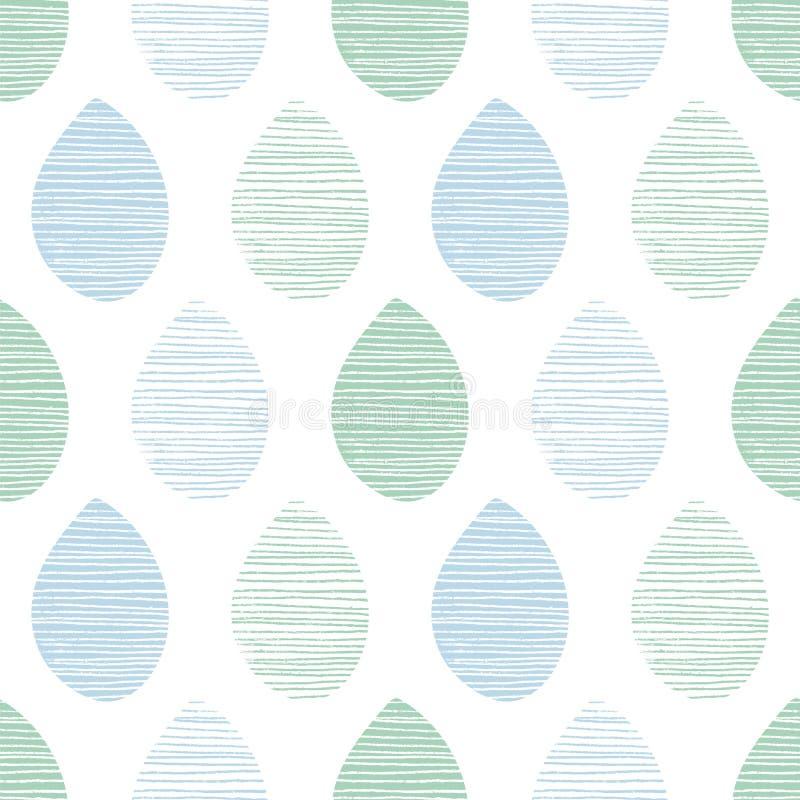 Modelo inconsútil del vector de la naturaleza El azul y el verde se va con las líneas en el fondo blanco Ornamento dibujado mano  stock de ilustración