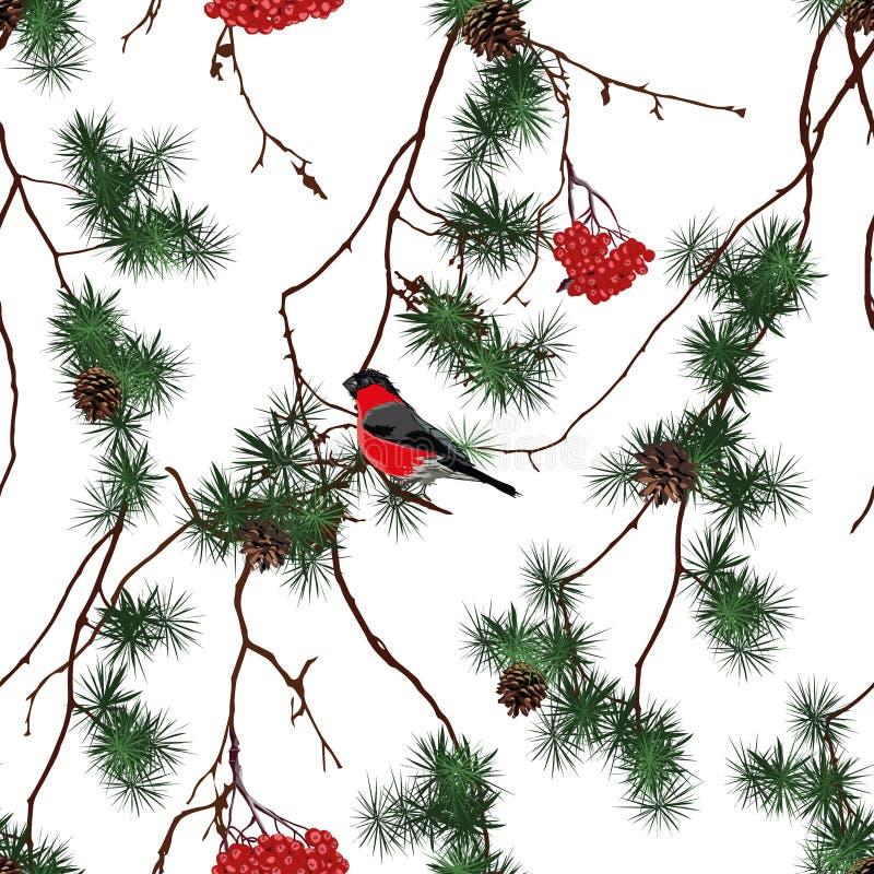 Modelo inconsútil del vector de la Navidad del bosque del invierno stock de ilustración