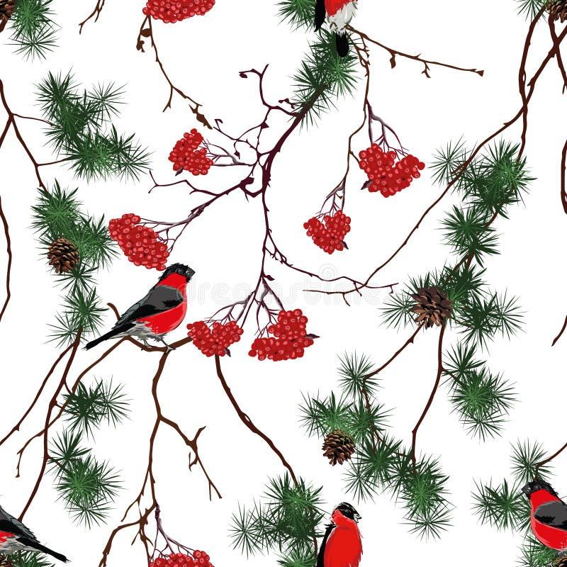 Modelo inconsútil del vector de la Navidad del bosque del invierno ilustración del vector