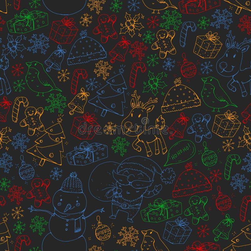Modelo inconsútil del vector de la Navidad del invierno Iconos de Papá Noel, muñeco de nieve, ciervo, campana, árbol de navidad stock de ilustración