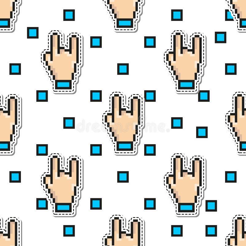 Modelo inconsútil del vector de la roca de la mano de los pulgares gesticula estilo del arte del pixel Fondo del concepto de dise libre illustration