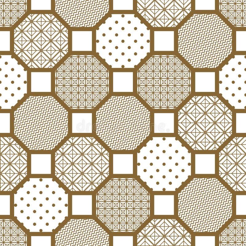 Modelo inconsútil del vector de la teja del estilo japonés stock de ilustración