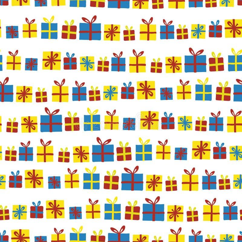 Modelo inconsútil del vector de las cajas de regalo en fila Presentes con las cintas rojas, amarillas y azules en un fondo blanco ilustración del vector