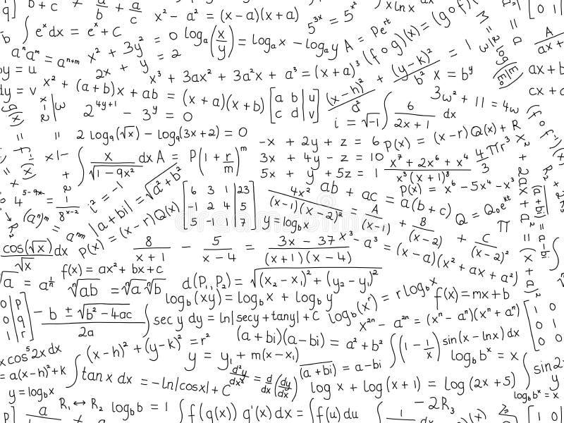 Modelo inconsútil del vector de las fórmulas de la matemáticas ilustración del vector
