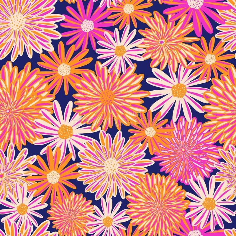 Modelo inconsútil del vector de las flores brillantes del verano Flores anaranjadas de la margarita blanca y del aster del rosa e libre illustration