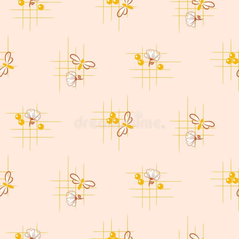 Modelo inconsútil del vector de las flores de la abeja y de la miel Ejemplo simple lindo exhausto de la repetici?n de la mano ilustración del vector