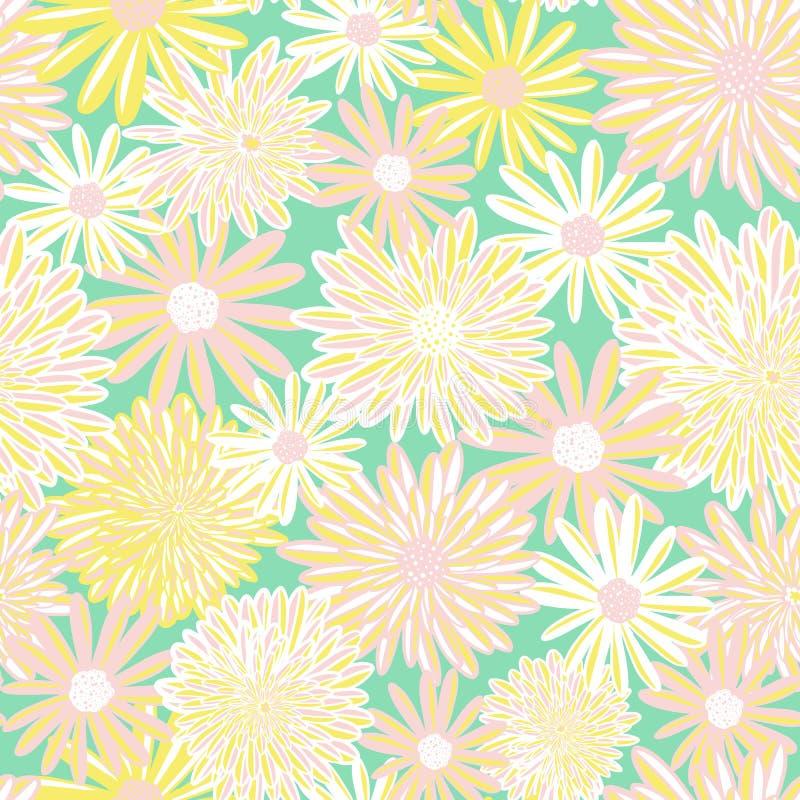 Modelo inconsútil del vector de las flores de la primavera Flores amarillas de la margarita blanca y del aster del rosa en fondo  libre illustration