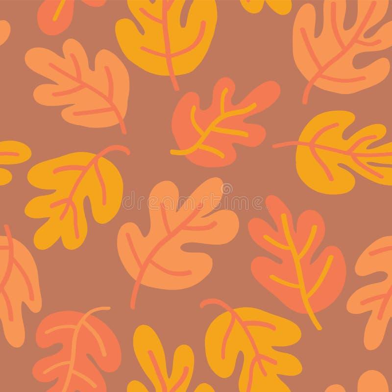 Modelo inconsútil del vector de las hojas de otoño Naranja sutil del fondo de la caída de la hoja del roble, amarilla, y roja par stock de ilustración