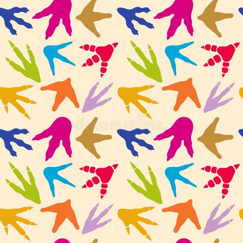 Modelo inconsútil del vector de las huellas del dinosaurio stock de ilustración