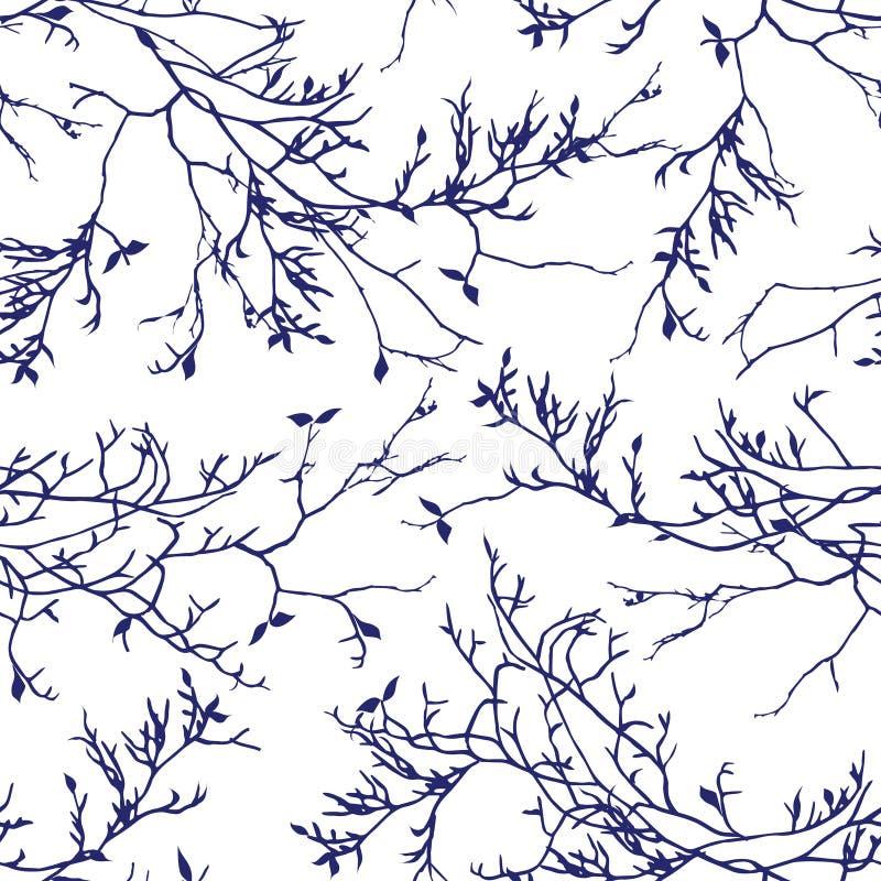 Modelo inconsútil del vector de las ramas de árbol de la marina de guerra ilustración del vector