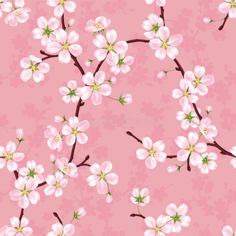 Modelo inconsútil del vector de las ramas florecientes de la manzana libre illustration