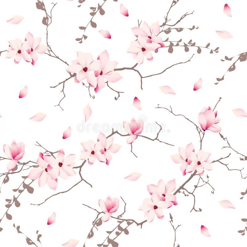 Modelo inconsútil del vector de los árboles del flor de la magnolia stock de ilustración