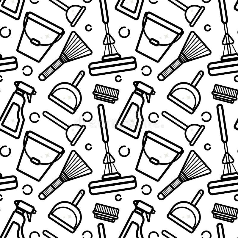 Modelo inconsútil del vector de los accesorios para limpiar la casa Arte linear plano en un fondo blanco Ornamento para el papel  libre illustration