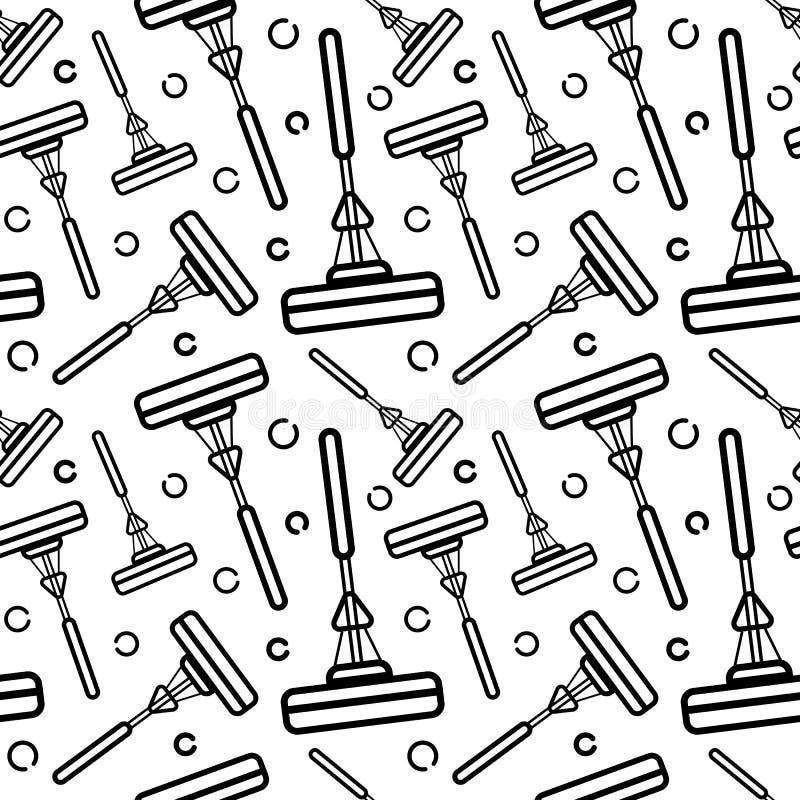 Modelo inconsútil del vector de los accesorios para limpiar la casa Arte linear plano en un fondo blanco Ornamento para el papel  stock de ilustración