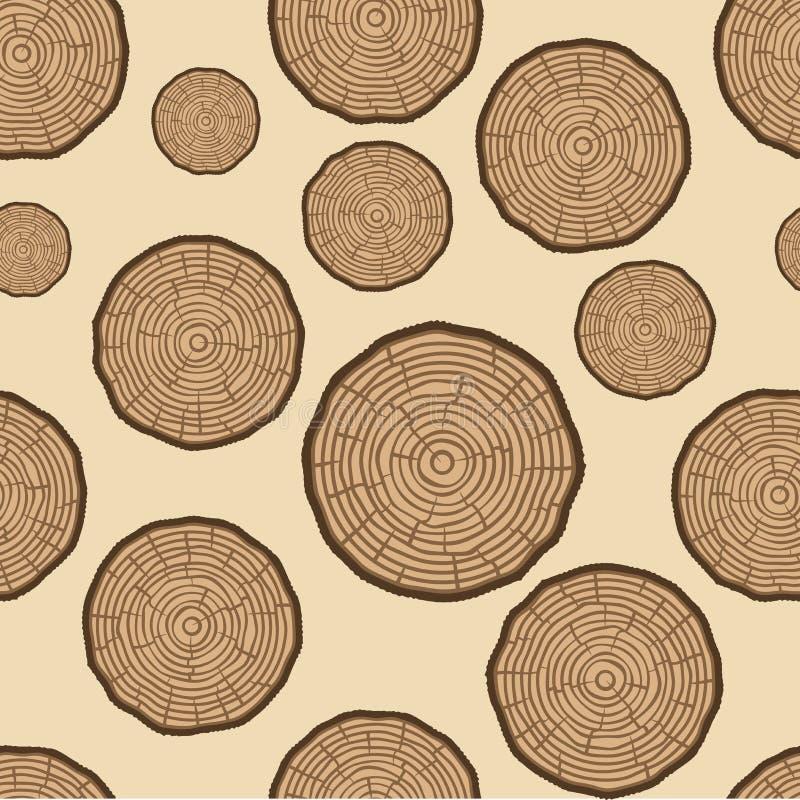 Modelo inconsútil del vector de los anillos de árbol Fondo del tronco de árbol del corte de la sierra Ilustración del vector libre illustration