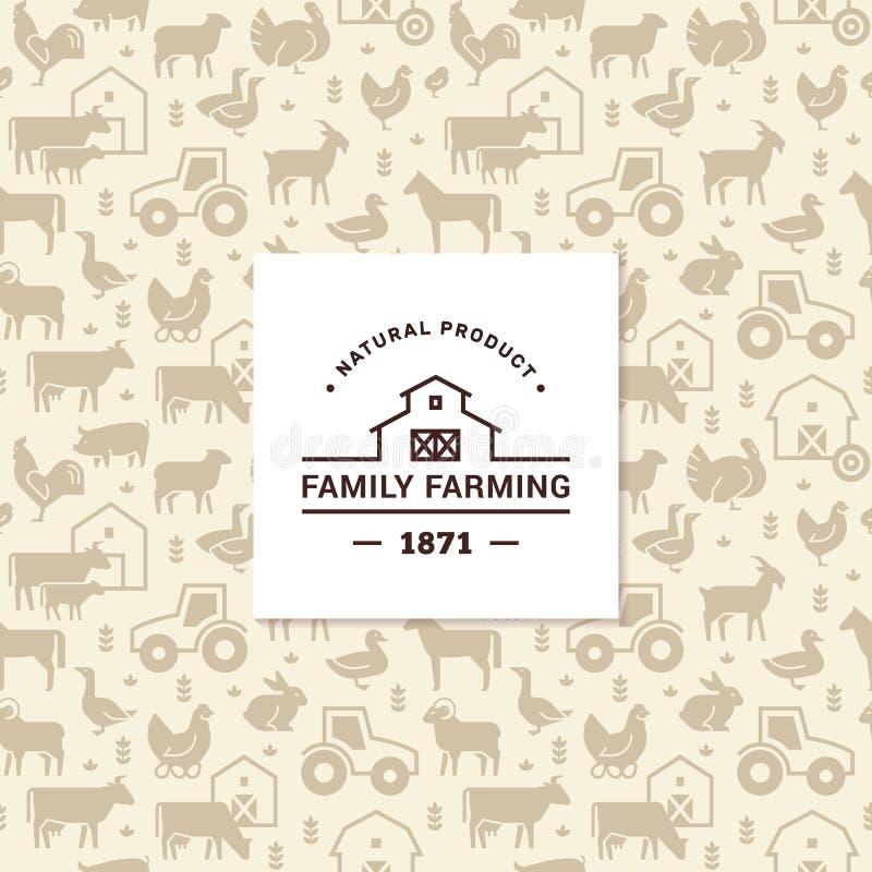 Modelo inconsútil del vector de los animales del campo, de los edificios, del equipo y de otros elementos con el logotipo stock de ilustración