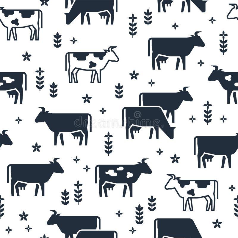 Modelo inconsútil del vector de los animales del campo, de los edificios, del equipo y de otros elementos en colores blancos y ne ilustración del vector