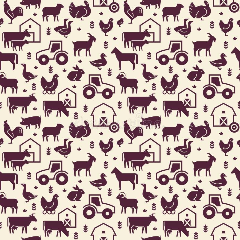 Modelo inconsútil del vector de los animales del campo, de los edificios, del equipo y de otros elementos en dos colores stock de ilustración