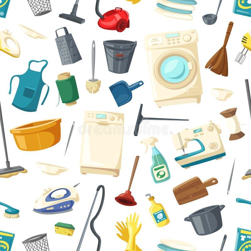 Modelo inconsútil del vector de los artículos caseros de la limpieza libre illustration