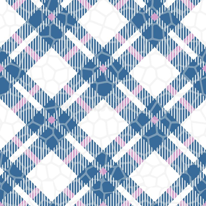Modelo inconsútil del vector de los azules turquesa, rojo y blanco del color del tartán Textura a cuadros de la tela escocesa Fon ilustración del vector
