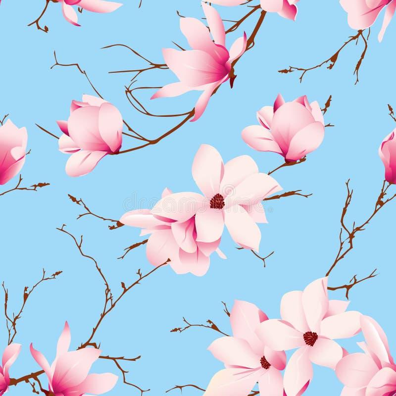 Modelo inconsútil del vector de los cielos azules y de las flores de la magnolia ilustración del vector