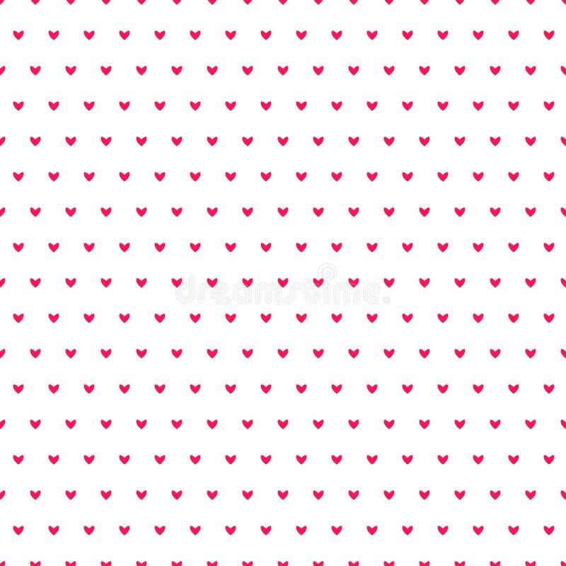 Modelo inconsútil del vector de los corazones simples Fondo del día de tarjetas del día de San Valentín Textura caótica sin fin d stock de ilustración