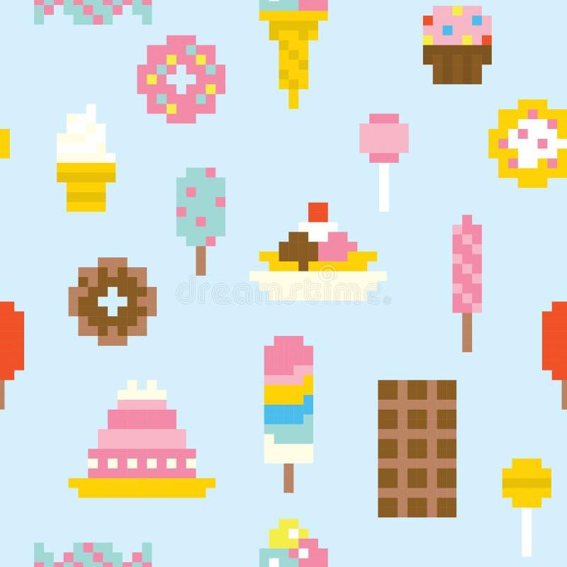 Modelo inconsútil del vector de los dulces del arte del pixel stock de ilustración